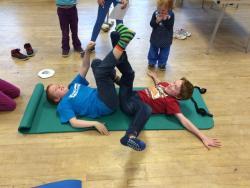 Viking Leg Wrestling at a Viking Themed Day