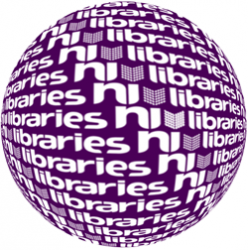 Globe logo made from the Libraries NI text